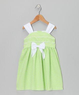 Navy Gingham Seersucker Surplice Dress - Toddler