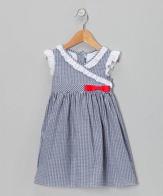 Lilac Gingham Seersucker Surplice Dress & Diaper Cover - Infant