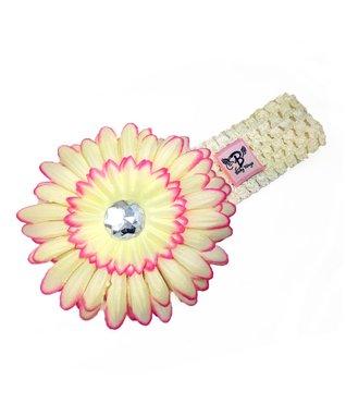 Cream & Pink Rhinestone Flower Headband