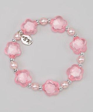 Pink & Silver Star Sweet Petite Stretch Bracelet