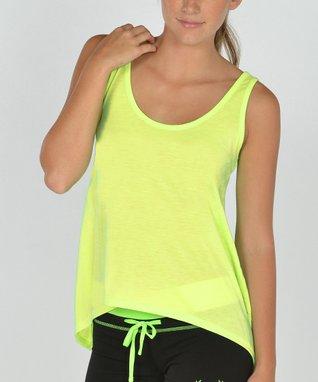 Neon Orange Stripe Scoop Neck Cover-Up - Women