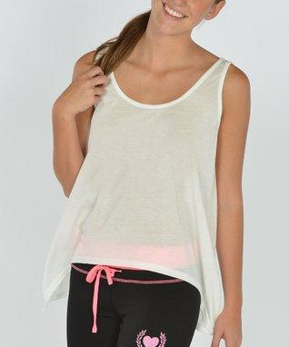 White Stripe Scoop Neck Cover-Up - Women