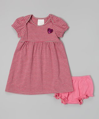 Hippo Hula Hot Pink Flower Pleat Front Dress & Bloomers - Infant