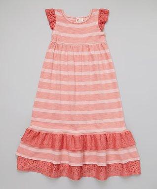 Pink & White Stripe Ruffle Pants - Toddler & Girls
