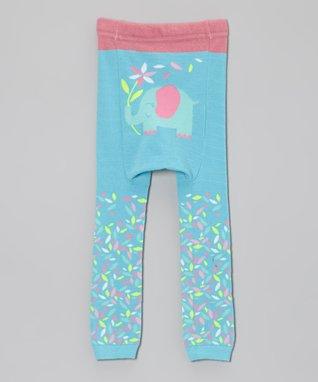 Doodle Pants Blue Floral Elephant Leggings - Infant