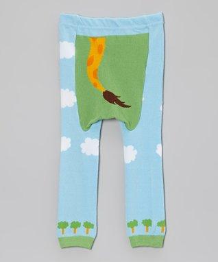 Doodle Pants Blue & Green Giraffe Leggings - Infant