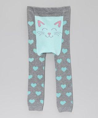 Doodle Pants Gray & Blue Heart Cat Leggings - Infant