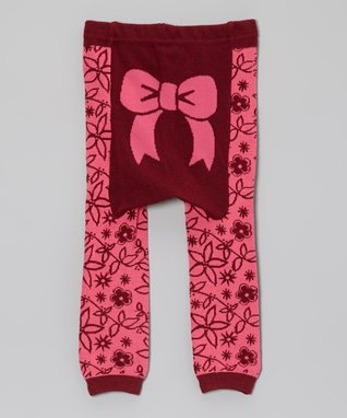 Doodle Pants Pink & Red Bow Leggings - Infant