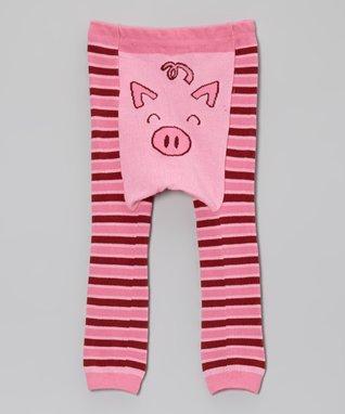 Doodle Pants Pink Stripe Pig Leggings - Infant