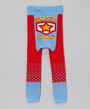 Doodle Pants Red & Blue 'Super Hero' Leggings - Infant