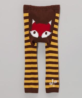 Doodle Pants Brown & Yellow Fox Leggings - Infant