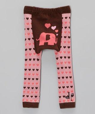 Doodle Pants Pink & Brown Elephant Heart Leggings - Infant