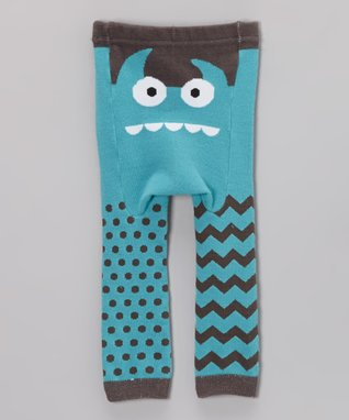 Doodle Pants Teal Monster Face Leggings - Infant