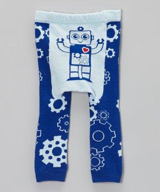 Doodle Pants Blue Robot Leggings - Infant