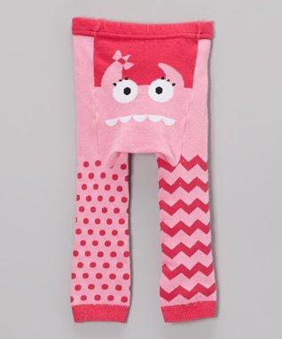Doodle Pants Pink Monster Face Leggings - Infant