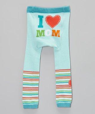 Doodle Pants Light Blue 'I Love Mom' Leggings - Infant