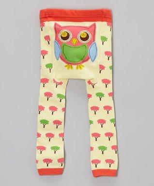 Doodle Pants Light Yellow Tree Owl Leggings - Infant