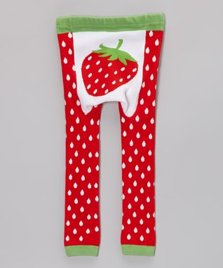 Doodle Pants Red & Green Strawberry Leggings - Infant