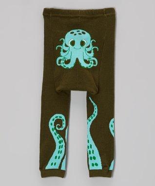 Doodle Pants Blue & Black Octopus Leggings - Infant