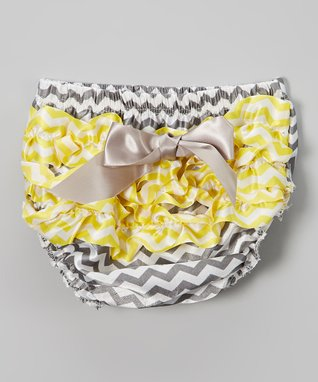 Yellow & Gray Zigzag Bow Ruffle Diaper Cover - Infant & Toddler