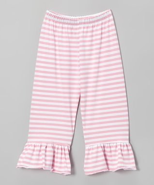 Gray Stripe Ruffle Capri Pants - Toddler & Girls