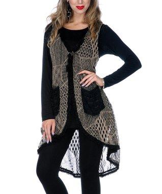 Mocha Crocheted Hi-Low Vest