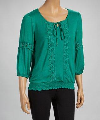 Black Lace-Trim Cape-Sleeve Top - Plus