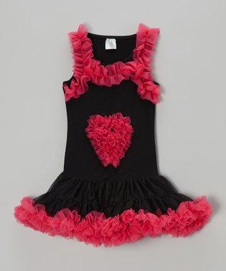 Hot Pink & Black Tulle Dress - Infant, Toddler & Girls