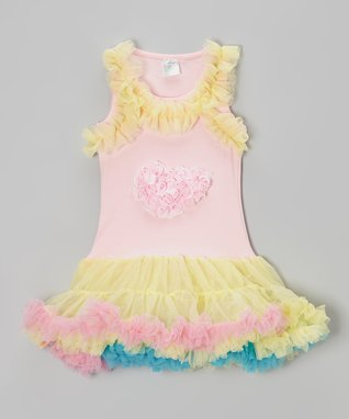 Pink & Yellow Heart Tulle Dress - Infant, Toddler & Girls
