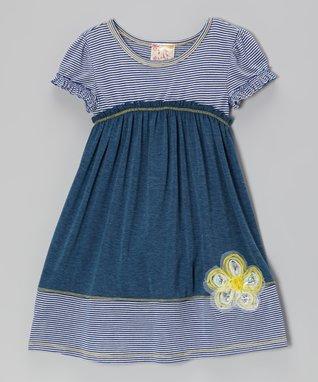 Blue Damask Lace Dress - Girls