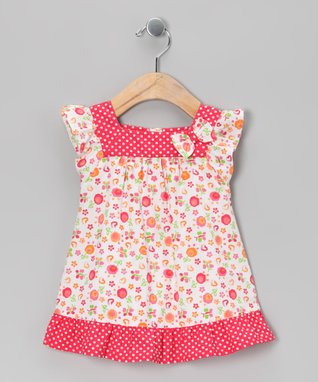 Littoe Potatoes Coral Circle Yoke Dress & Diaper Cover - Infant