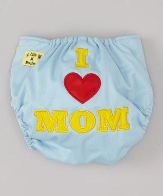 Little Monsters Blue 'I Love Mom' Pocket Diaper
