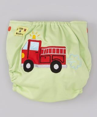 Little Monsters Green Fire Truck Pocket Diaper