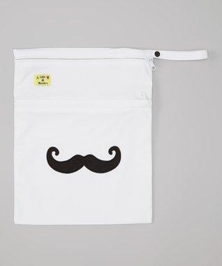 Little Monsters White Mustache Wet Bag