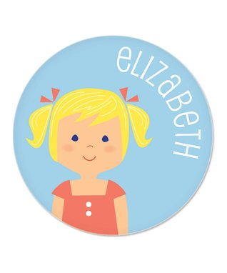 Dark Blonde Pigtails Girl Personalized Plate
