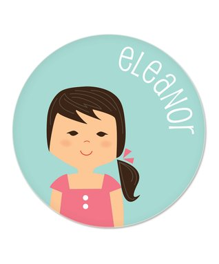 Blonde Ponytail Girl Personalized Plate