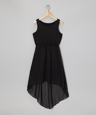 Black Chiffon Hi-Low Dress