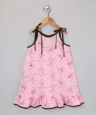 Pink & Black Floral Ruffle Dress - Infant, Toddler & Girls