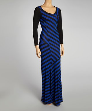 American Twist Gray & Orange Stripe Scoop Neck Maxi Dress