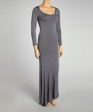 American Twist Taupe & Black Color Block Maxi Dress