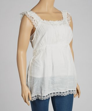 Natural Lace-Overlay Tank - Plus