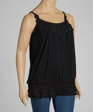 Black Crochet Shirred Blouson Tank - Plus