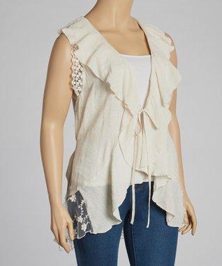 Ivory Lace & Ruffle Vest - Plus