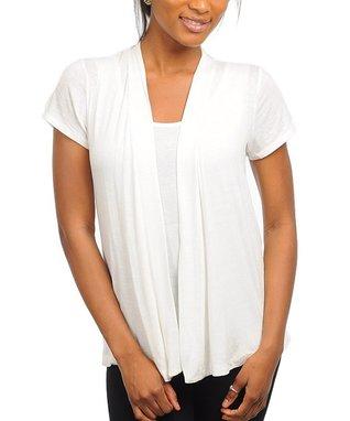 Ivory Short-Sleeve Open Cardigan
