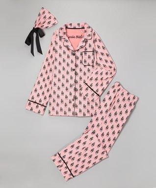 Pink French Poodle Pajama Set - Women