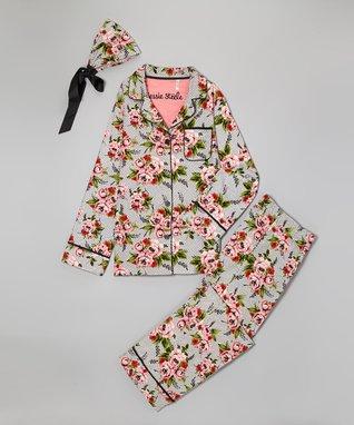 Cottage Rose Lace Boyfriend Pajama Set - Women