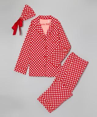 Red & White Polka Dot Pajama Set - Women