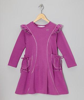 Berry Ruffle-Shoulder Becky Dress - Toddler & Girls