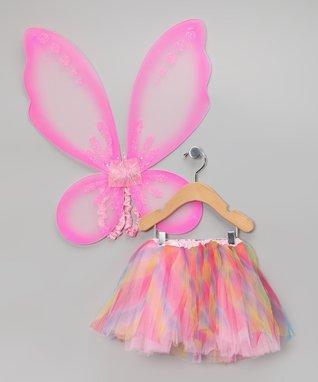Rainbow Tutu & Pink Pixie Wings - Toddler & Girls