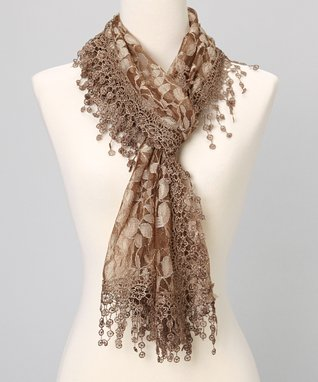 Brown Branches Lace Shawl Scarf